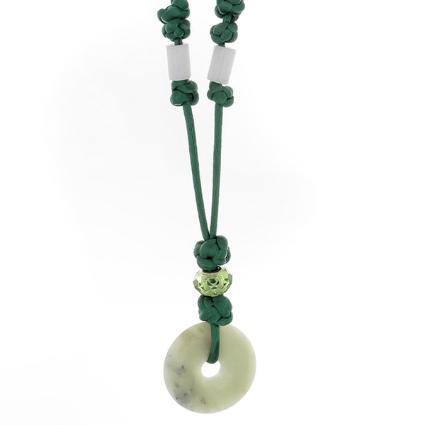 "Aventurine ""Donut"" with Crsytal and glass bead Necklace - Finesse Jewelry"