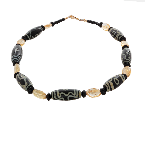 African Black Glass beads with Lemon quartz Necklace - Finesse Jewelry