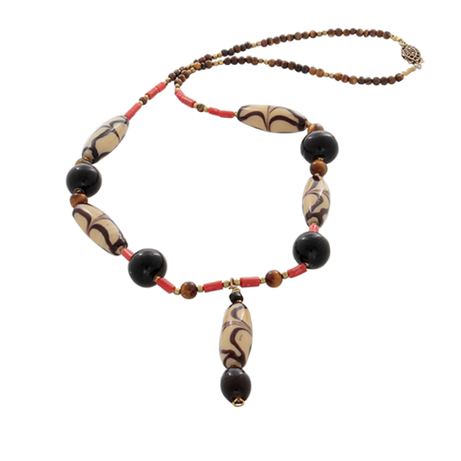 African Cream/Brown glass beads with coral, & Tiger's Eye Necklace - Finesse Jewelry