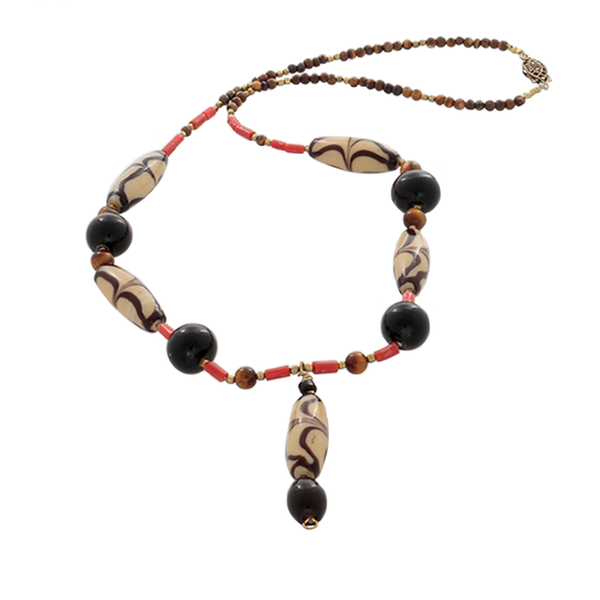 African Cream/Brown glass beads with coral, & Tiger's Eye Necklace