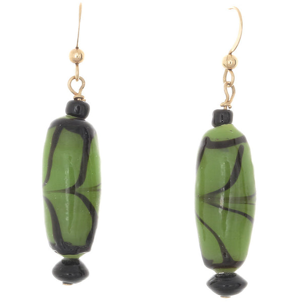African Green with black glass earrings on gold-filled French ear wires - Finesse Jewelry