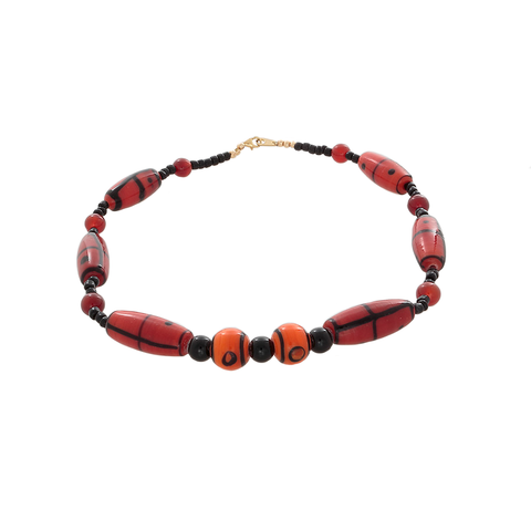 African Orange & Black Glass with Carnelian Beaded necklace - Finesse Jewelry