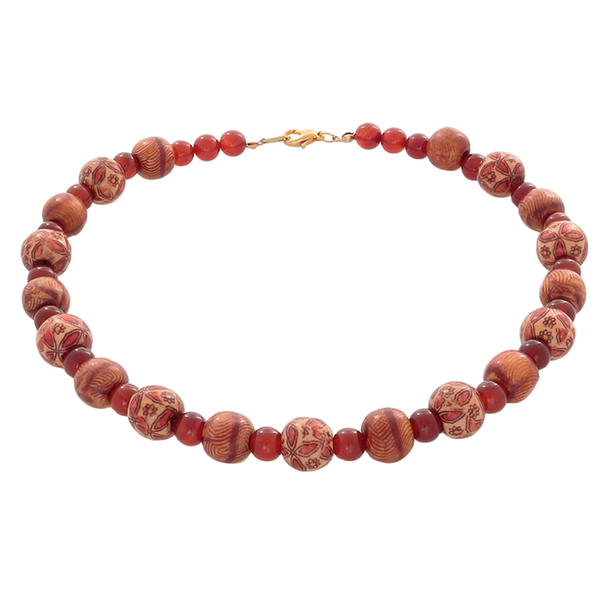 African Wood Beads & Carnelian Necklace on 14k Gold-Filled Clasp