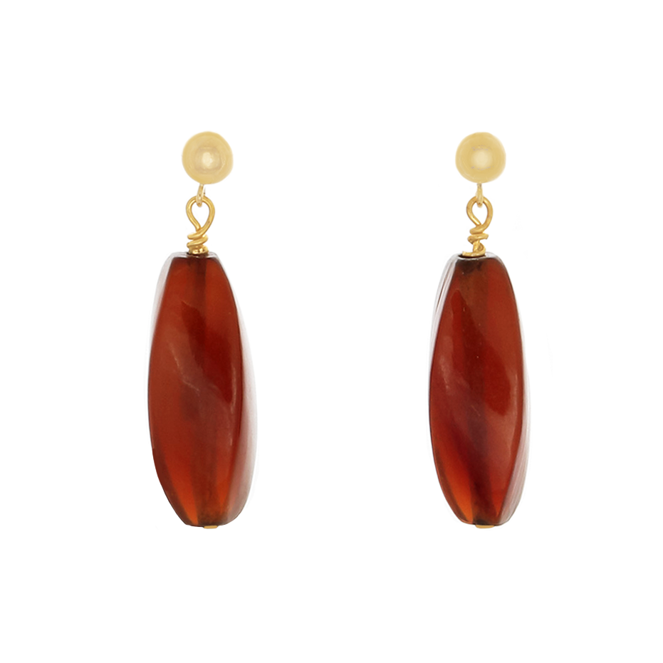 Brown Amber beads on 14k Gold-filled Post earrings - Finesse Jewelry