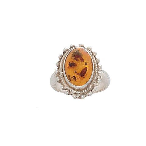 Amber with Insects set in Antique Sterling Silver - Finesse Jewelry