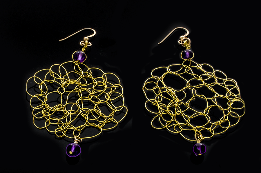 Crocheted Gold-Brass Wire Earrings with Amethyst Beads on French hooks - Finesse Jewelry