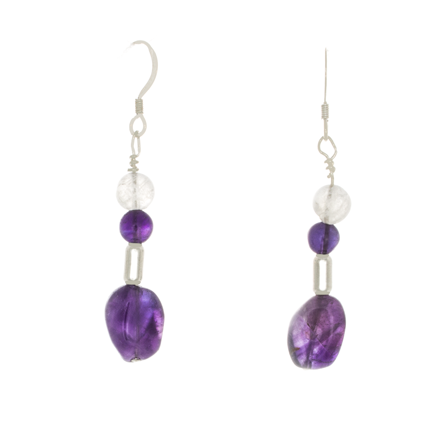 Amethyst and Moonstone beads Sterling Silver French Hook Earrings - Finesse Jewelry