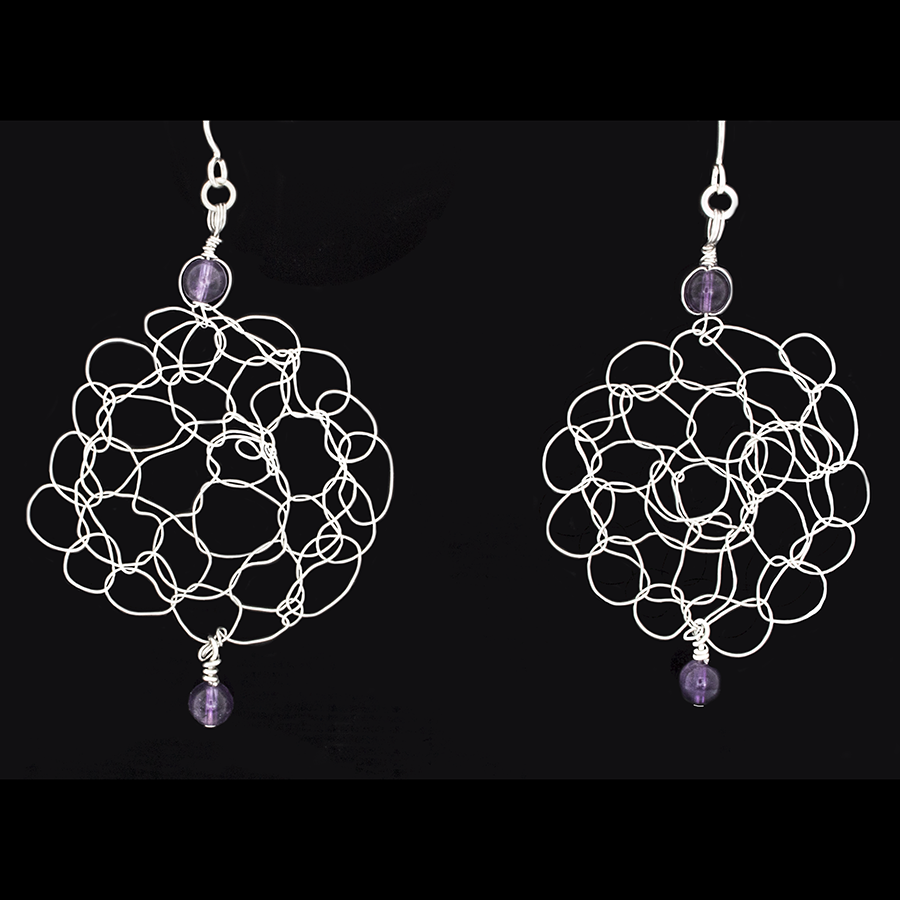 Crocheted Silver wire Earrings with Amethyst Beads on French Hooks