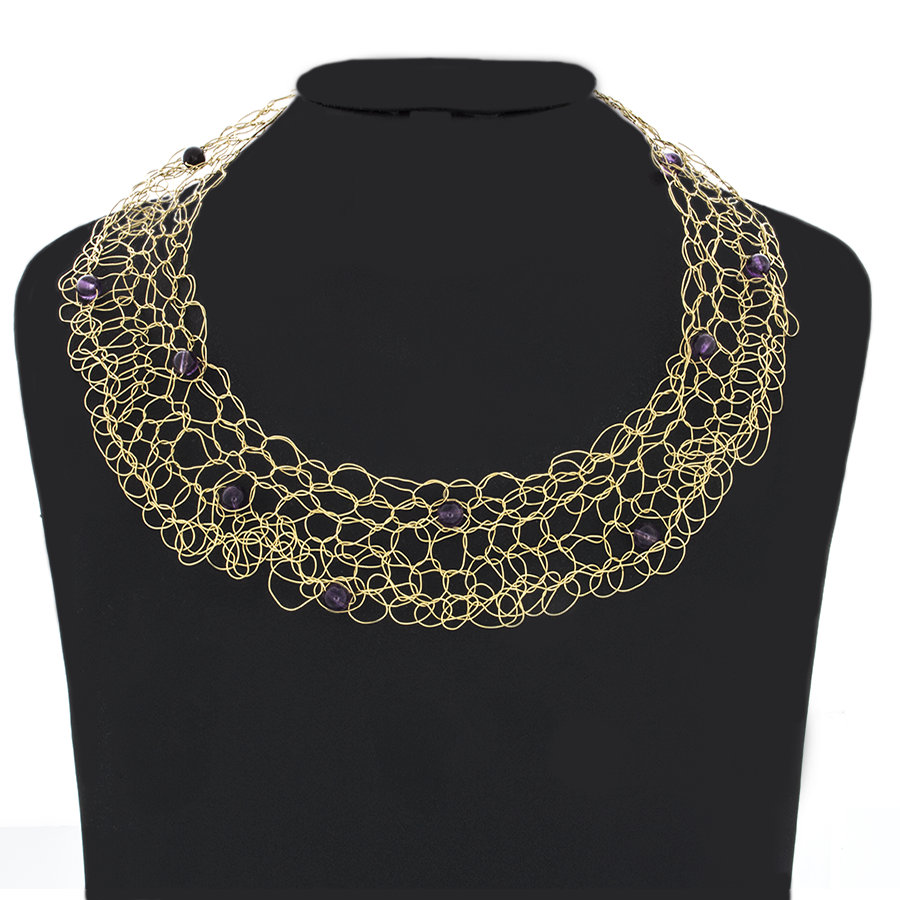 Crocheted Gold-Brass Wire with Amethyst beads Necklace - Finesse Jewelry