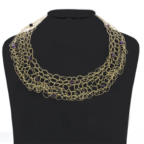 Crocheted Gold-Brass Wire with Amethyst beads Necklace