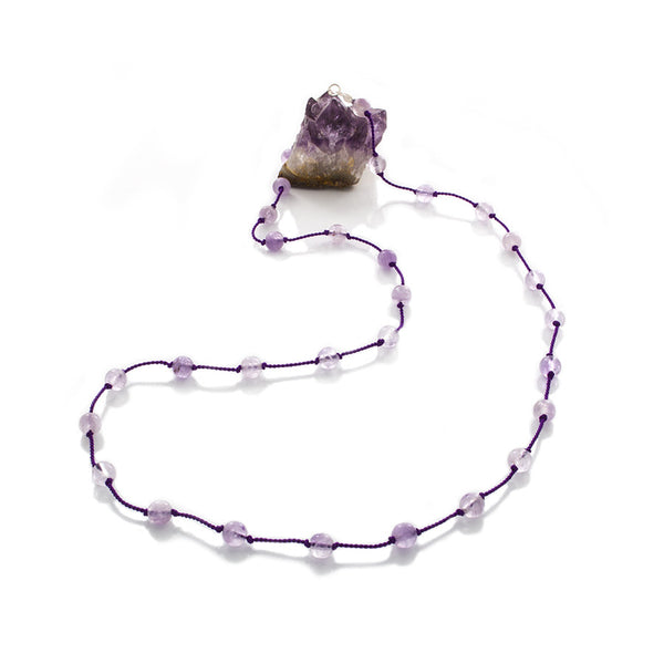 Violet Amethyst beads Hand-Knotted & spaced on Silk cord Necklace - Finesse Jewelry