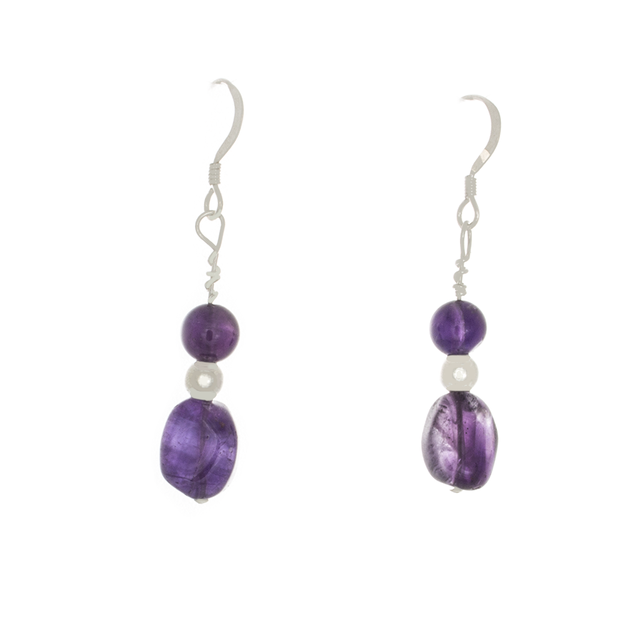 Amethyst Tumbled Bead & Round Bead Earrings - French Hooks