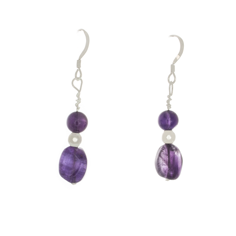 Amethyst Tumbled and Round Bead French Hool Earrings