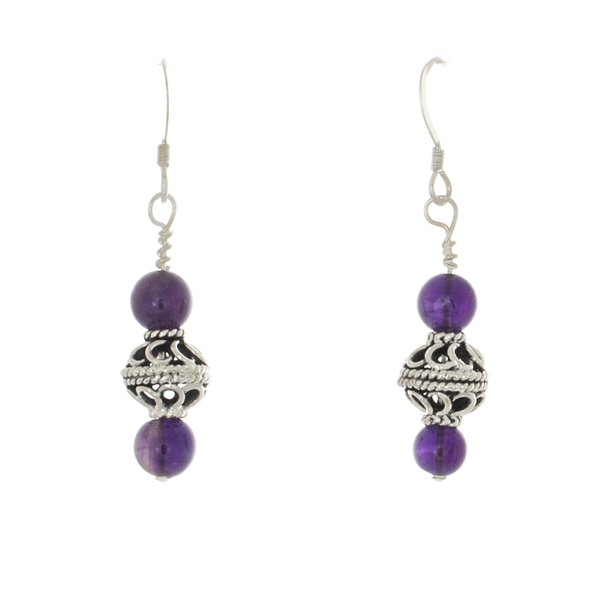 Amethyst and Antique Silver Bead French hook Earrings