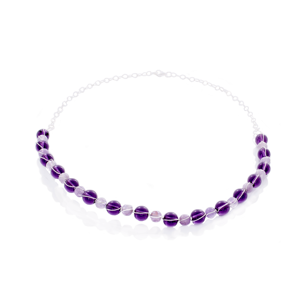 Amethyst 2-Shades Bead Captured and Structured Necklace in Sterling Silver - Finesse Jewelry