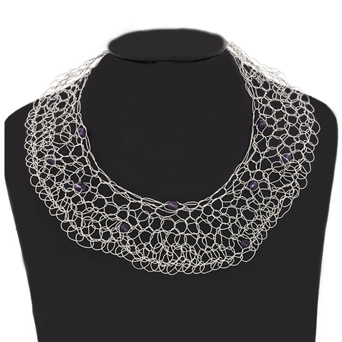 Crocheted Silver Wire Necklace with Amethyst beads