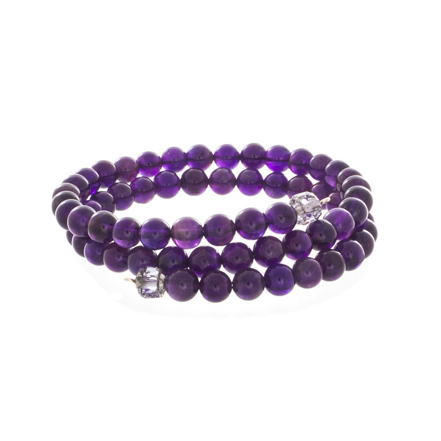 Amethyst Beaded Wrap Bracelet