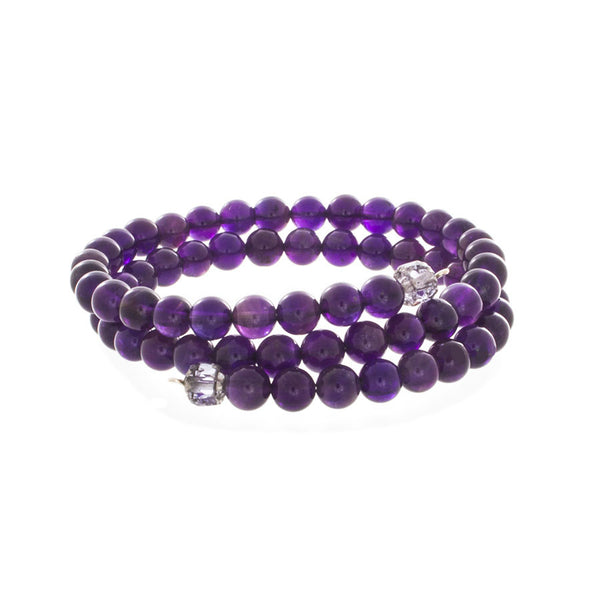 Amethyst Beaded Wrap Bracelet - Finesse Jewelry
