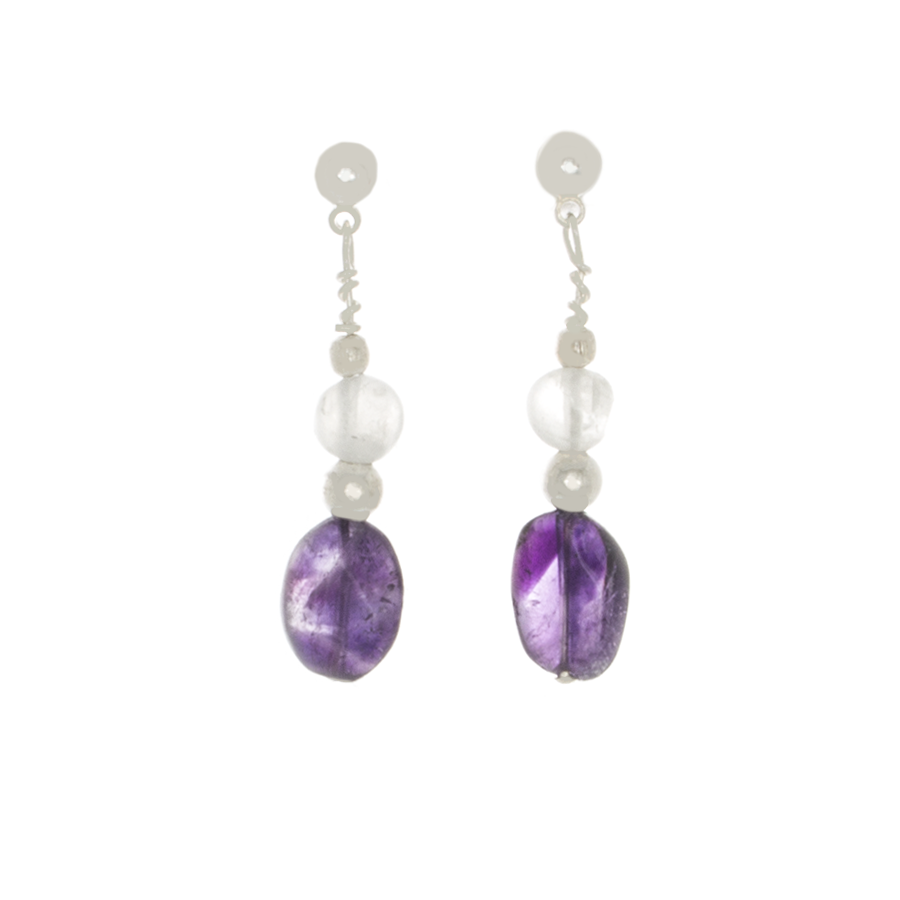 Amethyst and Moonstone on Sterling Silver Post Earrings - Finesse Jewelry