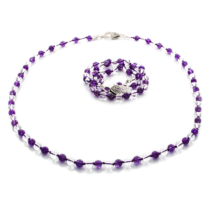 Amethyst & Clear Quartz Hand-knotted Necklace that Wraps into a Bracelet - Finesse Jewelry