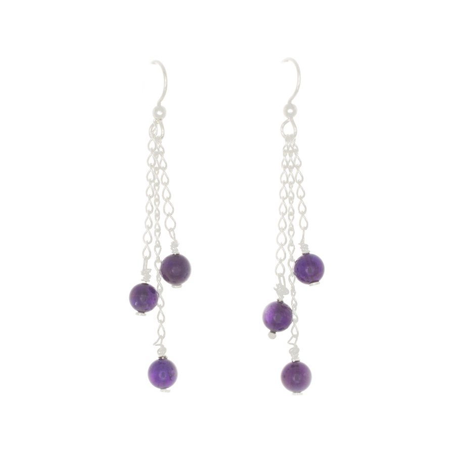 Amethyst 3-bead drop Earrings on Sterling Silver Chain