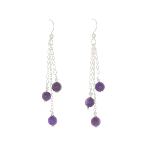 Amethyst 3-bead drop Earrings on Sterling Silver Chain - Finesse Jewelry