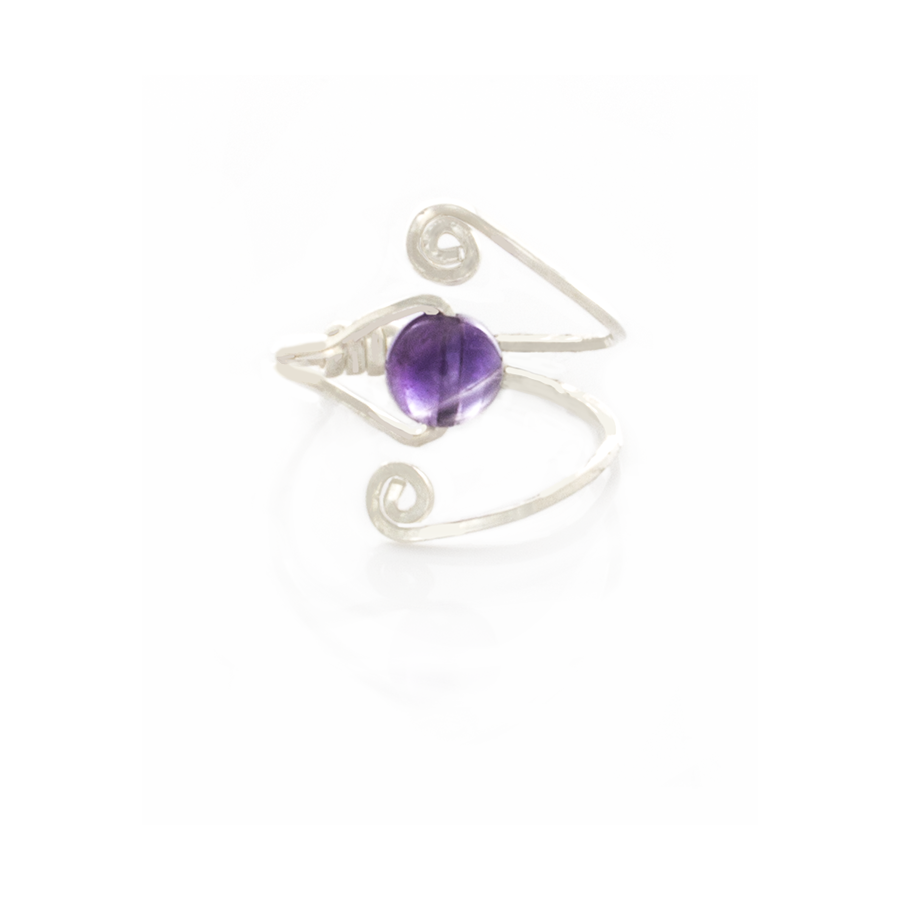 Amethyst Solitair Swirl Ring in Sterling Silver - Finesse Jewelry