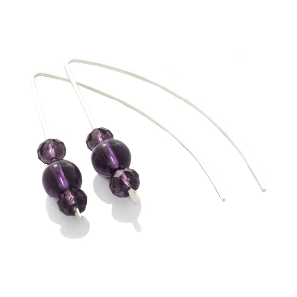 "Amethyst ""Slipper"" Earrings with crystals and hang on Argentium Silver - Finesse Jewelry"