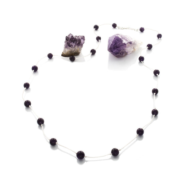 Dark Amethyst Beads Spaced on White Silk Cord necklace