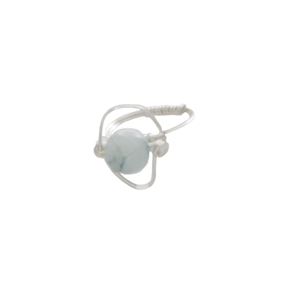 Aquamarine Orbit Bead Ring in Argentium Silver - Finesse Jewelry