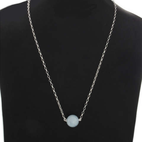 Aquamarine Pendant Bead Necklace on Sterling Silver Chain