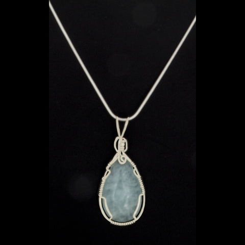 Aquamarine Pear-shaped Pendant Necklace Wrapped in Sterling Silver - Finesse Jewelry