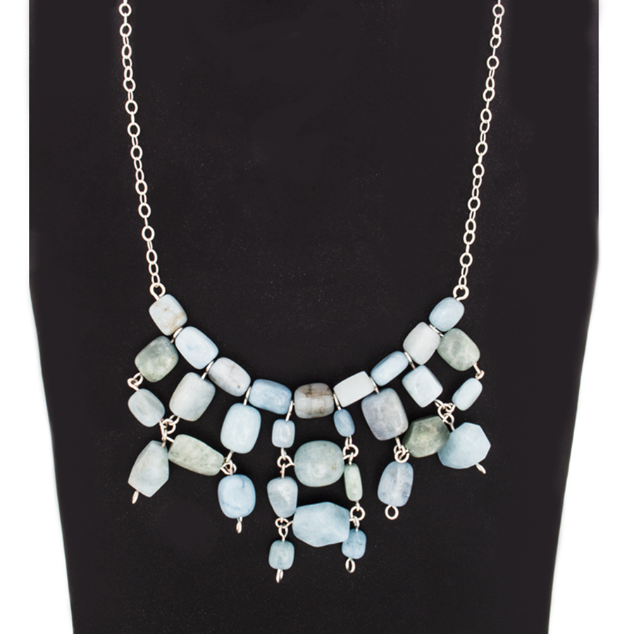 Aquamarine Chuncky Bead Statement Necklace on Sterling Silver Chain - Finesse Jewelry