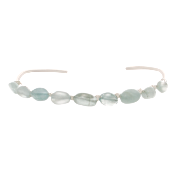 Aquamarine Chip Bead on Sterling silver Cuff Bracelet