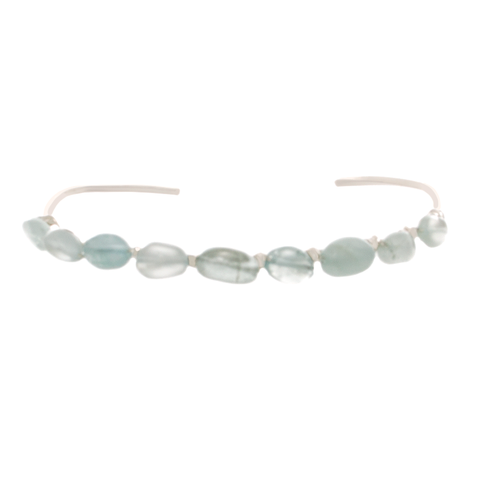 Aquamarine Chip Bead on Sterling silver Cuff Bracelet - Finesse Jewelry
