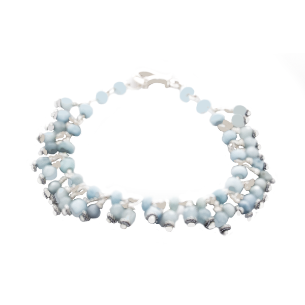 Aquamarine Bead dangle Bracelet in Sterling and Antique Silver - Finesse Jewelry