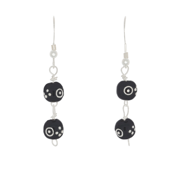 Black Coral Inlaid with Silver Earrings - Finesse Jewelry