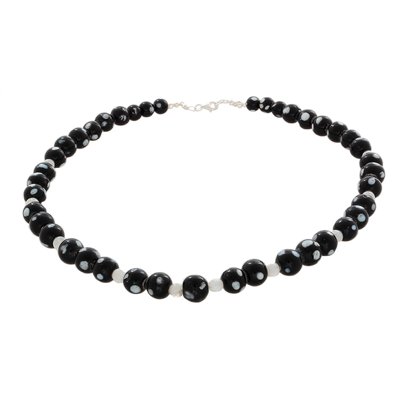 Black Howlite and Moonstone Necklace with Sterling Clasp - Finesse Jewelry
