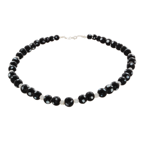 Black Howlite and Moonstone Necklace with Sterling Clasp