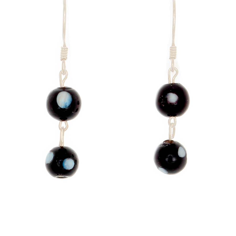 Black Howlite Beads on Sterling Silver French Hook Earrings. - Finesse Jewelry