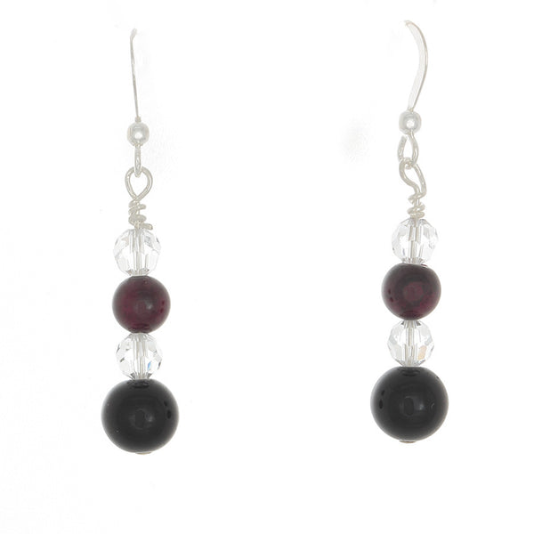 Garnet, Black Onyx and  Clear Quartz Sterling French Hook earrings - Finesse Jewelry
