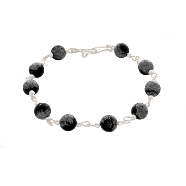 Black Howlite & Sterling Silver Chain Bracelet - Finesse Jewelry