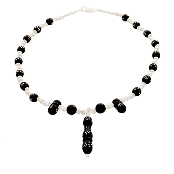 Black Coral inlaid with silver & silver beaded Necklace - Finesse Jewelry