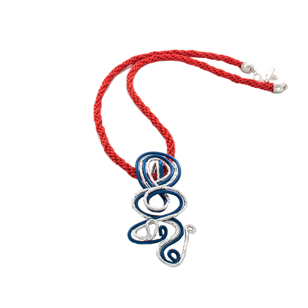 Blue and White Twisted Focal on Red Kumihimo Braided Necklace - Finesse Jewelry