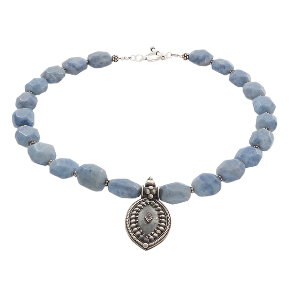 Blue Dumorterite & silver pendant Necklace - Finesse Jewelry