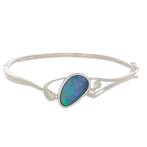 Blue Opal & Sterling Silver Bangle Bracelet-blue fire - Finesse Jewelry