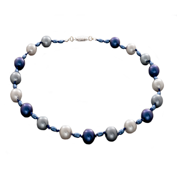 Blue and Gray Hand-Knotted Pearl necklace - Finesse Jewelry