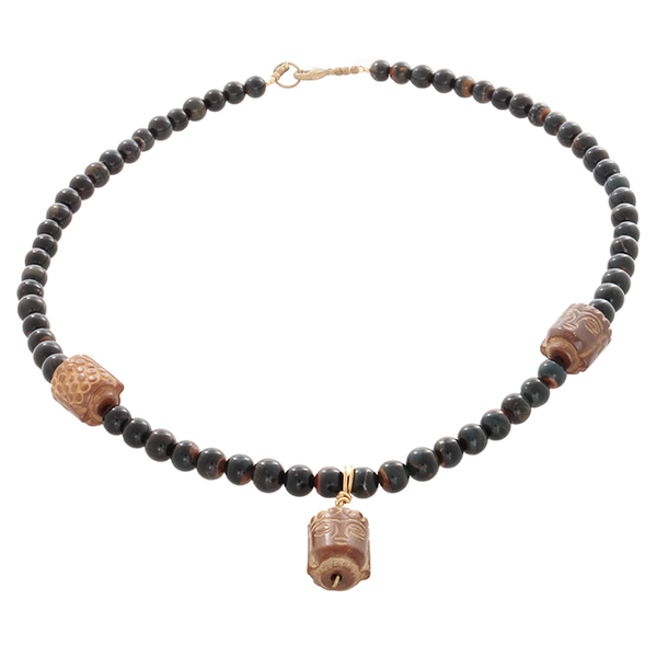 Blue Tiger's Eye & Buddha head beaded Necklace - Finesse Jewelry