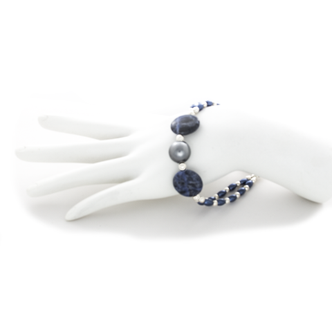 Blue  Pearl and Iolite Bracelet in Sterling Silver - Finesse Jewelry