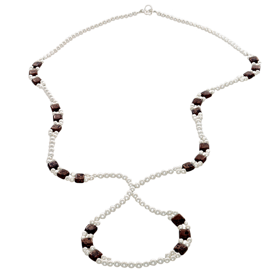 Brown Crystal & Sterling Silver Beads on an